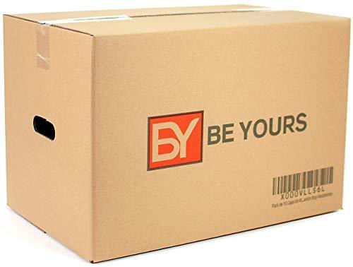 Pack de 10 Cajas de Mudanza Grandes con Asas - 550 x 350 x 370 mm - DISPONIBLE EN VARIOS TAMAÑOS - Canal Doble de Alta Calidad Reforzado - Fabricadas en España - Cajas de Cartón Muy Resistentes