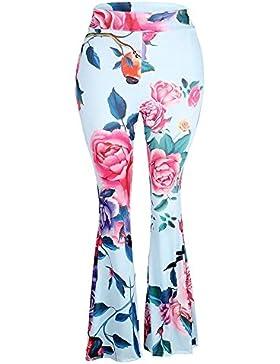 HaiDean Golpear Los Pantalones Mujer Largos Elegante Primavera Otoño Patrón De Flores Vintage Pantalones Acampanados...