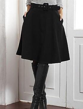 tweed falda del color sólido de las mujeres con la correa (más colores) , l