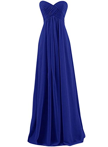 Azbro Women's Strapless Maxi Evening Prom Bridesmaid Chiffon Dress Royal Blue