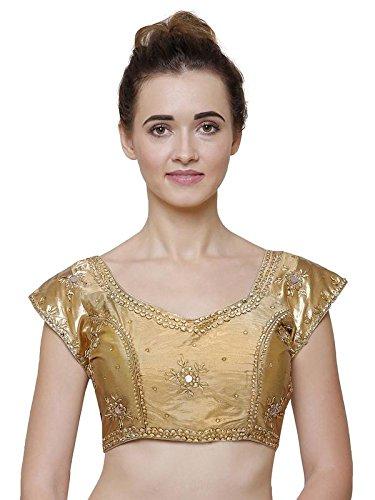 RZ LECORT Women's Brocade Embroidered Blouse (RZ-B-G-106150399 (1)_Golden_34-46 Size)