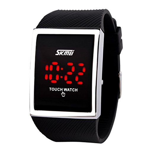 Skmei Unisex Damen und Herren Sensorbildschirm Digital LED Wasserdichte Sport Casual Armbanduhr - schwarz