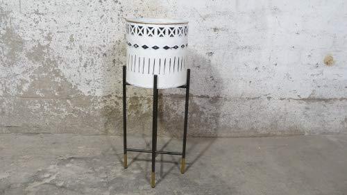 Wohnliebhaber Blumentopf Pflanzgefäß Vase Schwarz Weiß Gold Muster Glamour Modern Loft