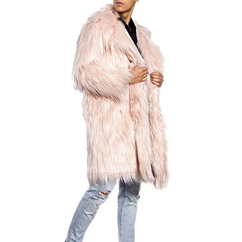 Pelzmantel Lang Kunst Felljacke Herren 4 Farbe Wind Coat ,AKAUFENG Winterjacke Mantel Kunstpelz lange Jacke Faux Fur