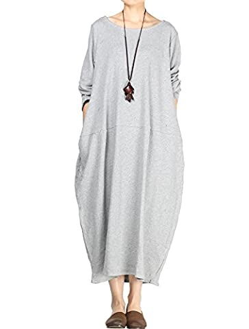 Vogstyle - Robe - Femme Style 3-Long Sleeve Light Grey M (s'adapter 34-44)