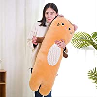 khfkdjsbfcksb Animal Plush Toy Long Pillow Removable And Washable Cute Dinosaur Powder Pig Panda Warm Hand Pillow Girl Plush Pillow 100cm (with liner) Yellow cat