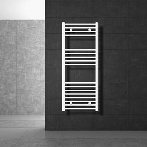 ECD Germany Radiador toallero para baño - 500 x 1200 mm - Blanco - Recto con conexión Lateral - Secador de Toallas