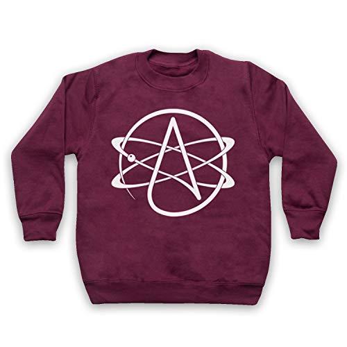 My Icon Art & Clothing Atomic Whirl Atheist Symbol Kids Sweatshirt, Burgund, 9-11 Jahren