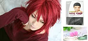 Japanese Anime Wigs @ FINAL FANTASY Reno Black Butler Crell Sutcliff 80cm Red Long Straight + Wigs Cap + Anti-dust Plug Stopper