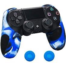 Pandaren® silicona grueso medio Fundas Protectores el mando PS4 (camuflaje azul) x 1 + thumb grip x 2