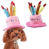 Tian Ran Dai - Gorro de cumpleaños para Mascota, diseño de Perro con Tarta y Velas, Accesorio para Disfraz de Gatos y Cachorros