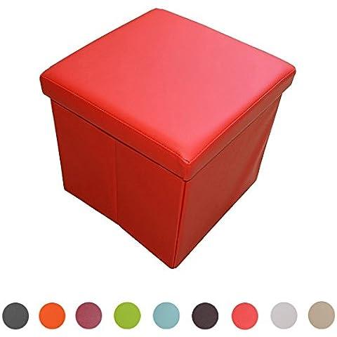 stylehome® Asiento banco Puff con caja soporte Banco taburete plegable Soporta piel sintética Selección de Colores Tamaño Selección 1638–19de señal ROJO