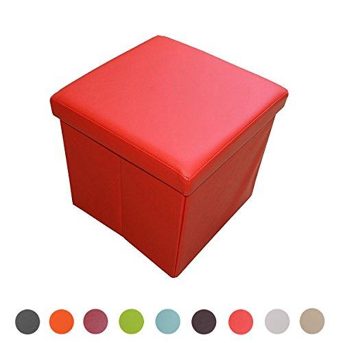 Style home Sitzbank Sitzhocker Aufbewahrungsbox mit Stauraum Faltbar belastbar bis 300 kg Kunstleder 38 x 38 x 38 cm ... (Signalrot)