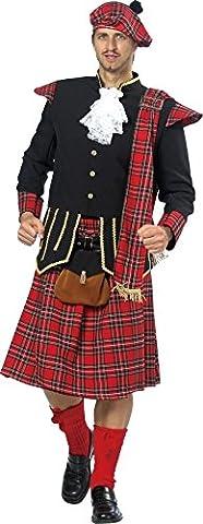 Schottenkostüm in rot-schwarz-gold-weiß für Herren | Gr. 52| 2-teiliges X Schotten Kostüm mit Gürtel, Gürteltasche und Jabot | Schotten Faschingskostüm für Männer | Schotte für (Kostüm Idee)
