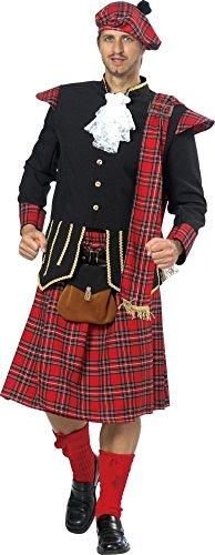 Schottenkostüm in rot-schwarz-gold-weiß für Herren | Gr. 52| 2-teiliges X Schotten Kostüm mit Gürtel, Gürteltasche und Jabot | Schotten Faschingskostüm für Männer | Schotte für Karneval