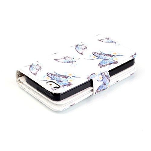 PU Coque Apple iPhone 5 / 5s / SE, Multifonction Case (9 fente) Wallet Cover Etui en cuir Étui de protection flip Wallet stand Cover avec des fentes de cartes pour iPhone 5 / 5s / SE +Bouchons de pous 4