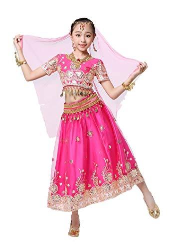 Kostüm Fancy Indische Dance - DRESSS Indisches Tanzkostüm für Kinder Bauchtanz Sari Bollywood Performance Kostüm (Farbe : Rose Rot, größe : M)