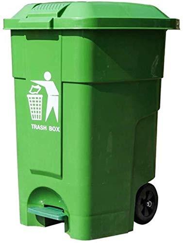 Kunststoff-Papierkorb, Papierkorb mit Wagen, Gewerbepark Fabrik Platz Geschäft Trash Can 46,5 * 43,4 * 62cm Komfortabler Dresser (Color : Green)