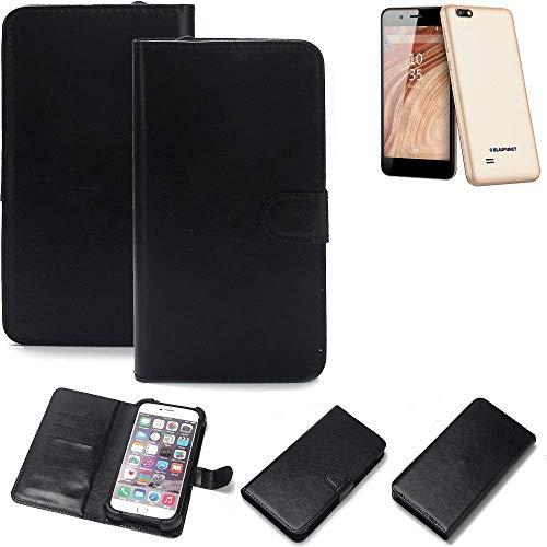 K-S-Trade Wallet Case Handyhülle für Blaupunkt SL 04 Schutz Hülle Smartphone Flip Cover Flipstyle Tasche Schutzhülle Flipcover Slim Bumper schwarz, 1x