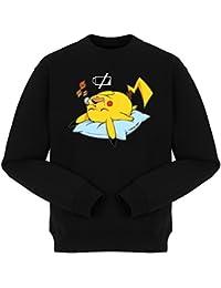 Pull Manga - Parodie Pikachu de Pokemon Go - Batterie déchargée :) - Pull Noir - Haute Qualité (872)