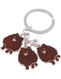 Émail chien Porte-clés avec porte-clés clip Charms par pashal Chiots Pomeranian