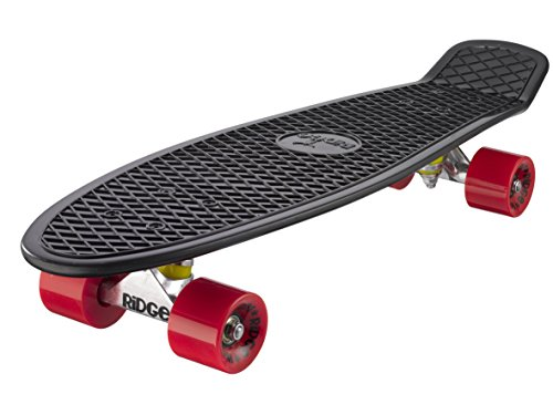 Ridge 27' Big Brother Retro Cruiser Skateboard, Nero/Rosso