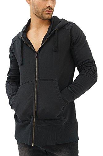 trueprodigy Casual Herren Marken Sweatjacke einfarbig Basic, Oberteil cool und stylisch mit Kapuze (Langarm & Slim Fit), Sweat Jacke für Männer in Farbe: Schwarz 2682103-2999-L