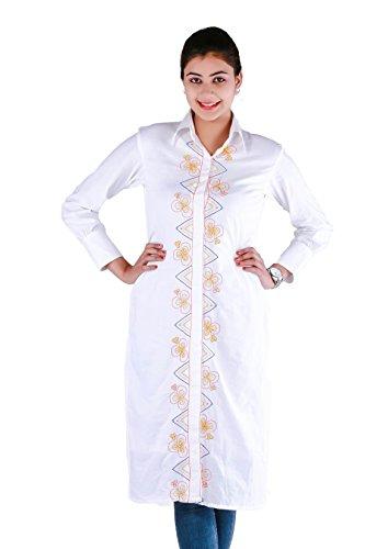 Chhori Sherwani Stlye Womens Geometrical Embroidered Pattern Cotton Kurti