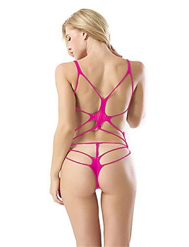 Damen Ausgeschnitten Anzüge Nachtwäsche Jacquard Schwarz Rote Fuchsia Einheitsgröße/Gurt@Fuchsia_Einheitsgröße (Ausgeschnitten Fuchsia)