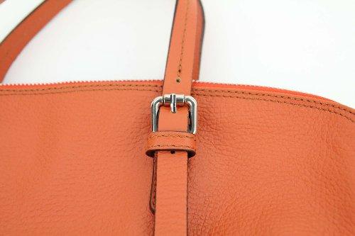 Rue Princesse Made in Italy Crete XXL Shopper DIN-A4 Leder Damen Beuteltasche Handtasche Henkeltasche 40x35x9 cm (BxHxT) Orange