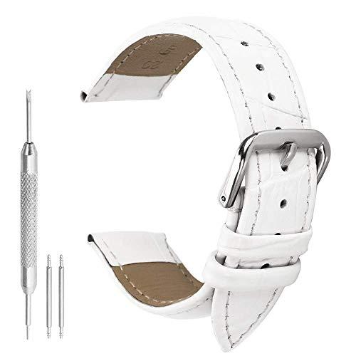 Autulet 18mm Leder Uhrenarmband Damen Weiß