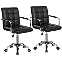 Yaheetech Set of 2 Office Chair Faux Leather Swivel Computer Desk Chair Adjustable - Home Office Study Room Furniture
