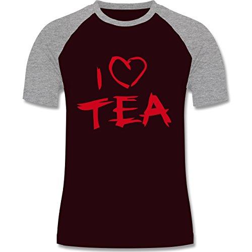 Küche - I Love Tea - zweifarbiges Baseballshirt für Männer Burgundrot/Grau meliert