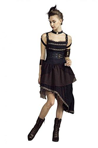 Steampunk Kleid Schwarz/Braun, Größe:XL (Mad Max Halloween Kostüm)