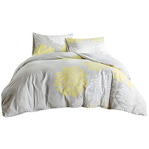 SCM Bettwäsche 155x220cm Grau Gelb Mikrofaser 3-teilig Bettbezug & Kissenbezüge 80x80cm Blumen Ideal für Schlafzimmer Enya
