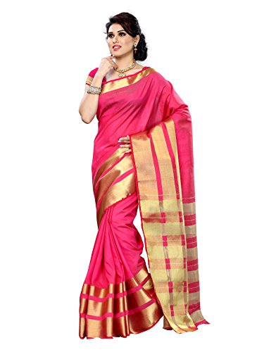 Mimosa Women Tussar Silk Saree With Plain Blouse (Pink ,3152-2069-TUS-RANI)