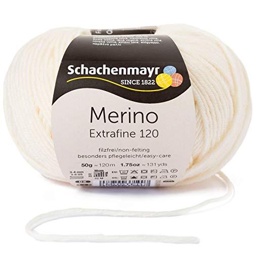 Schachenmayr Merino Extrafine 120 9807552-00102 natur Handstrickgarn, Schurwolle -