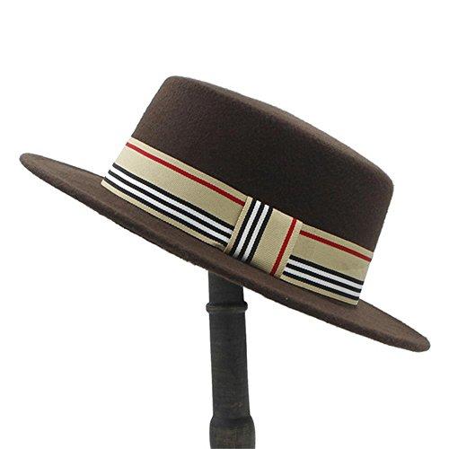 (Fashion Hat LUYIASI- Mode Wolle Hut für Frauen Filz breiter Rand Fedora Hut Laday Prok Kuchen Chapeu De Feltro Bowler Gambler Top Hut Hat (Farbe : Kaffee, größe : 56-58cm))