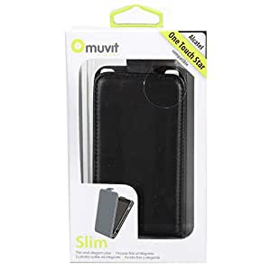 Muvit HOUALCSTARNOIR Pack de Etui à clapet Noir + Film de protection d'écran pour Alcatel One Touch Star