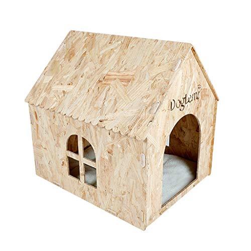 Dog Houses Kennels Cages & Pens Hundehütte, Katzenstreu für den Außenbereich, Garten, Hund, Katze, Haus, 4 Jahreszeiten, universell aus Massivholz, Holz, Wood Color, 50 * 57 * 58cm