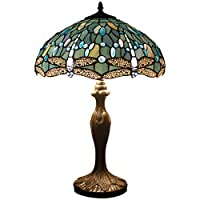 Tiffany Style Table Lamp Desk Beside Lamps 24 Inch Tall Sea Blue Stained Glass Shade Crystal Bead Dragonfly 2 Light Antique Zinc Base for Coffee Table Living Room Bedroom S147 WERFACTORY