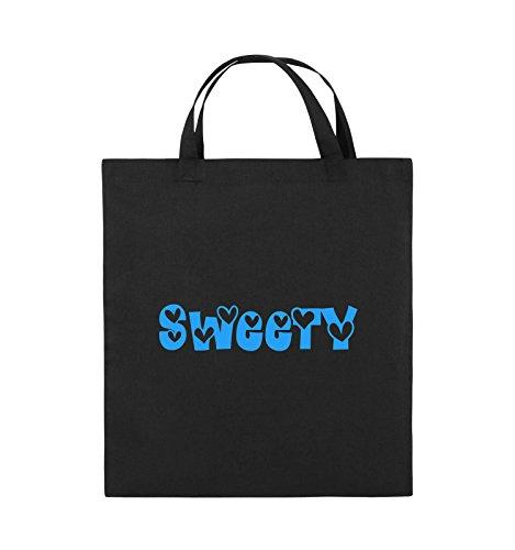 Farbe Schwarz HERZEN Pink Henkel Sweety Blau kurze Jutebeutel Schwarz 38x42cm Bags Comedy wCgq0vg