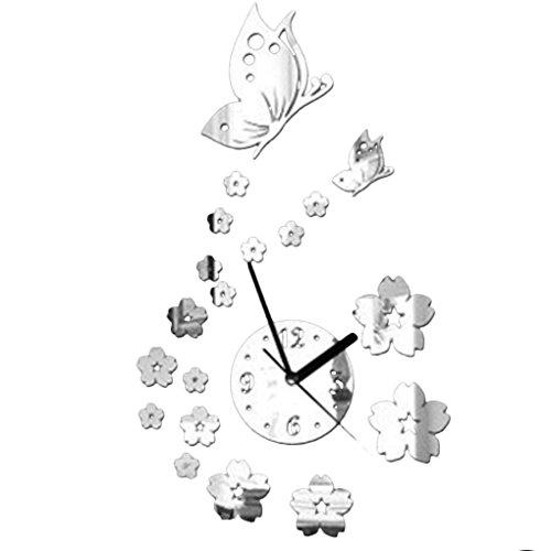 Bobury orologio da parete del fiore di farfalla 3d acrilico specchio adesivi arte moderna home decor