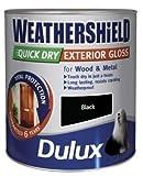 Dulux schnell trocknende Wetterschutz-Satin-Farbe, 750-ml, schwarz, schwarz, 5122153