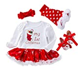 YuanDiann Bébé Fille 4 Pcs Déguisement Noël Vêtement de Baptême Nouveau Né  Habit De Noel Enfant 596556ffdbe