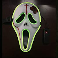 Yukun Máscara Línea de luz fría de Halloween máscara de Hip-Hop Luminoso máscara de Flash Cara Adulto Fluorescente