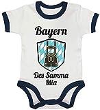 ShirtStreet Wiesn Gaudi Ringer Strampler Baumwoll Baby Body Kurzarm Jungen Mädchen Oktoberfest - Bayern des samma mia, Größe: 12-18 Monate,White/Nautical Navy