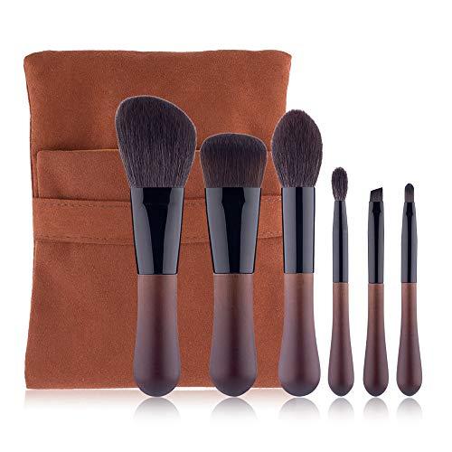 Set de pinceaux de maquillage manche en bois naturel 6 pinceaux de maquillage de petites gouttelettes d'eau [Classe énergétique A]