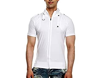 tees collection Men's Full Zip Dragon Neck(White_TCBC002) (Small)