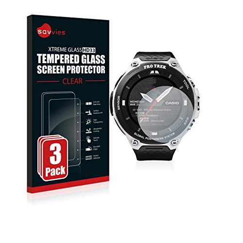 Savvies Panzerglas kompatibel mit Casio Pro Trek Smart WSD-F20 [3er Pack] - Echtglas Schutzfolie 9H